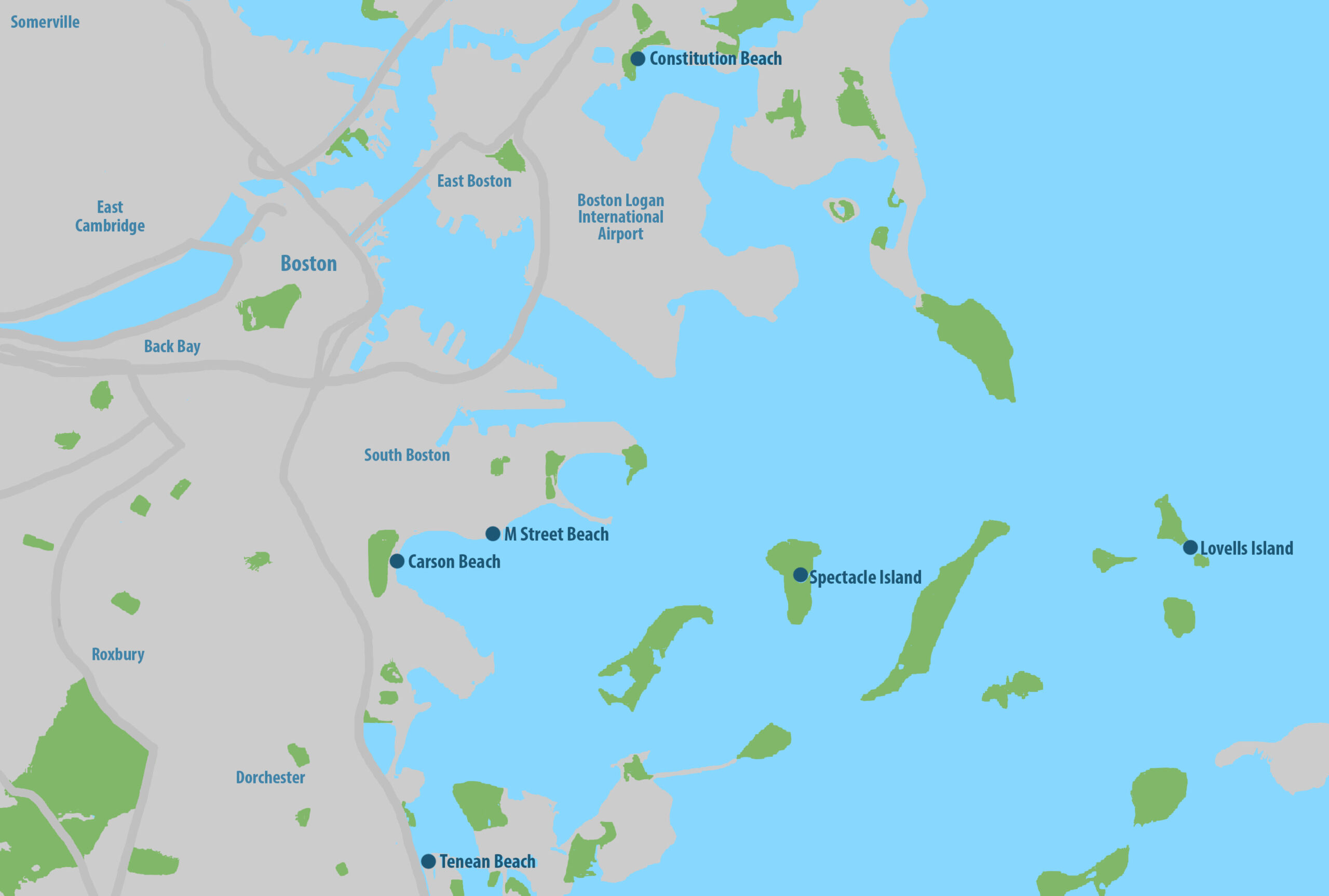 Image of a map of the beaches in the Boston area