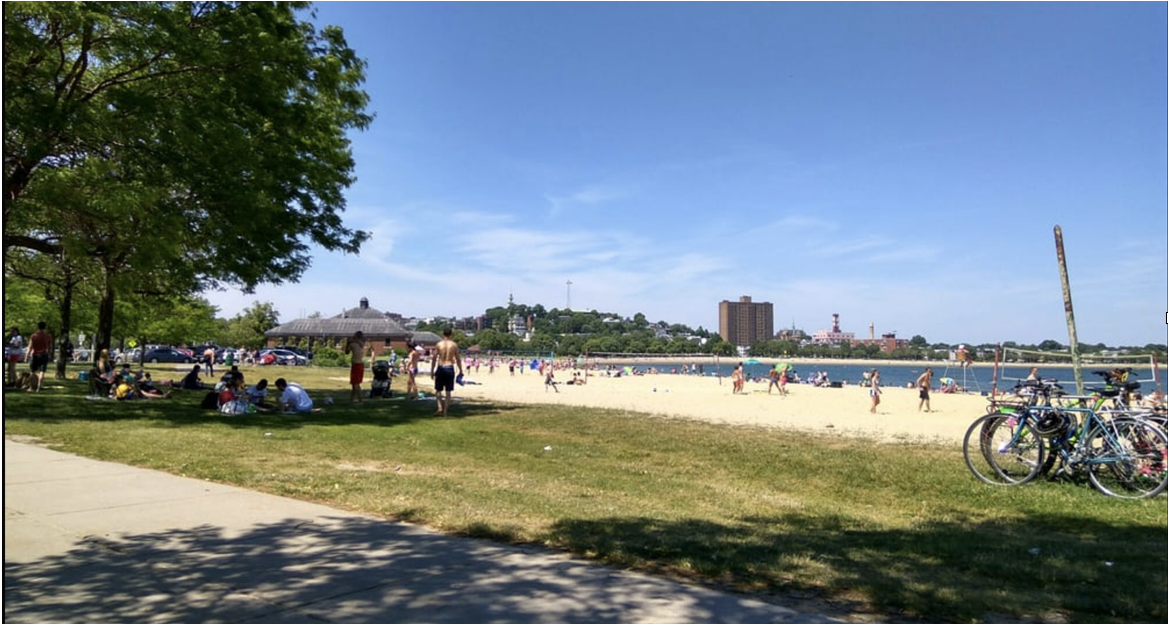Landscape photo of people at the beach