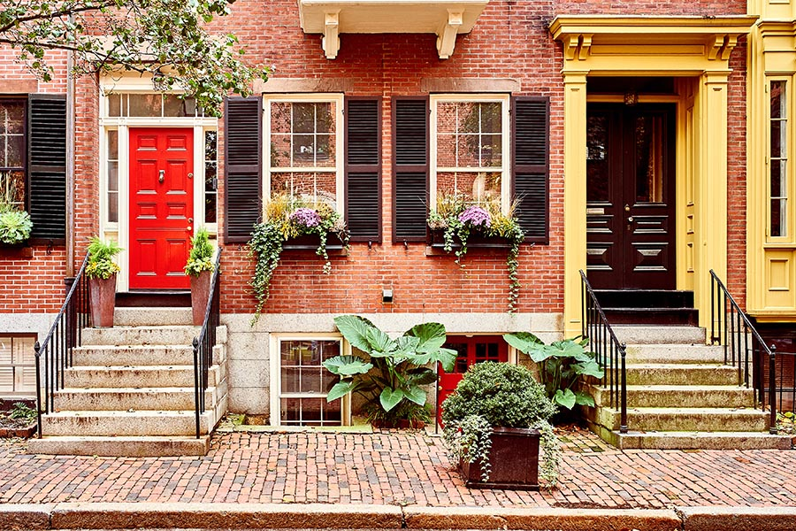 Personal Insurance - Row Homes in Boston, Massachusetts, With Red Brick, Black Shutters, Planters and Brick Sidewalks